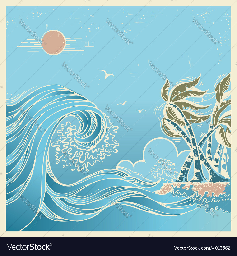 Big waves blue seascape vector   Price: 1 Credit (USD $1)