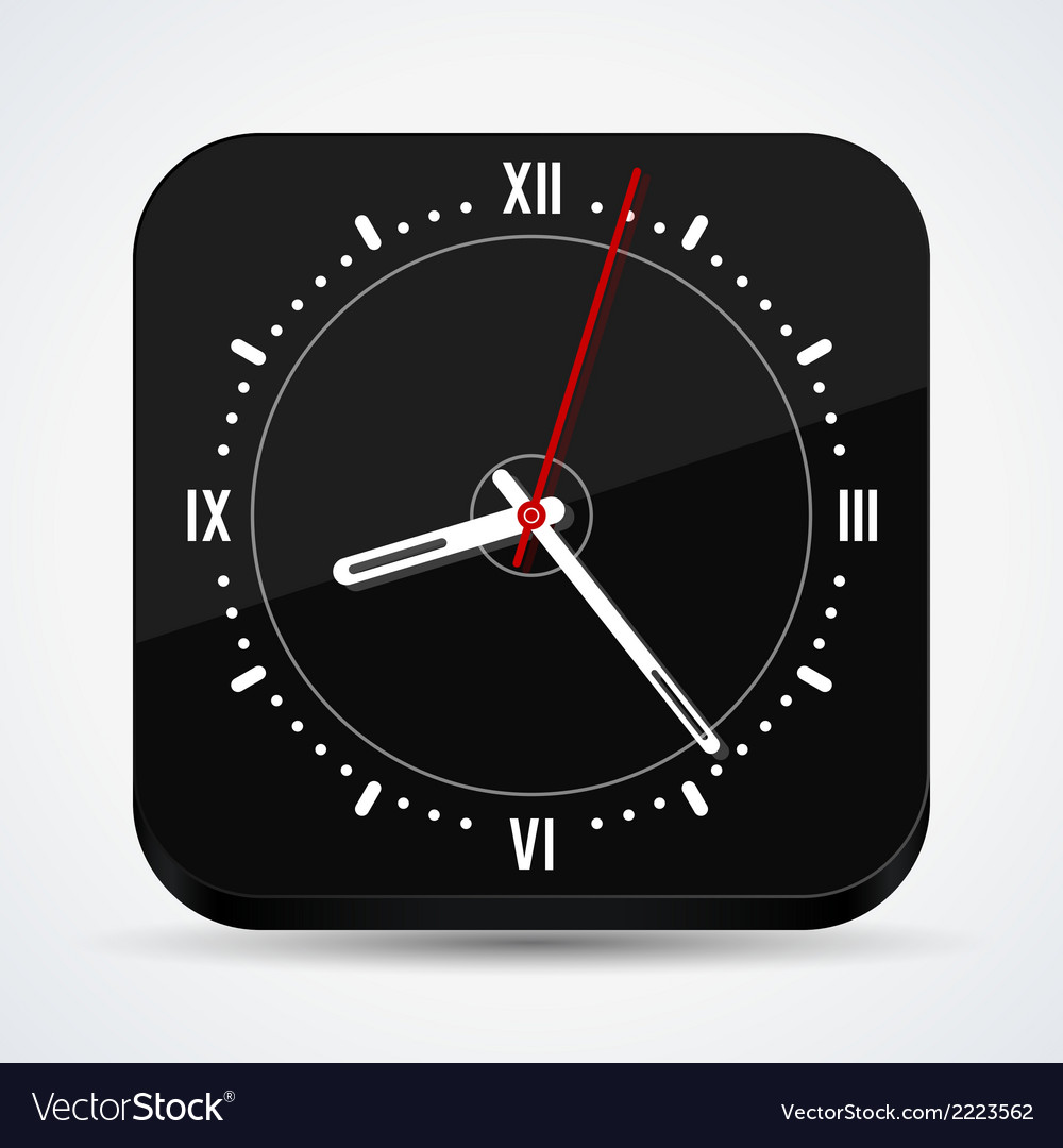 Black clock icon vector | Price: 1 Credit (USD $1)