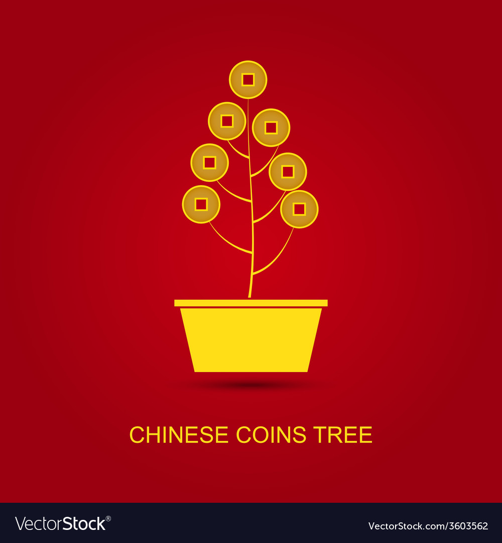 Chinese coins tree pot vector | Price: 1 Credit (USD $1)