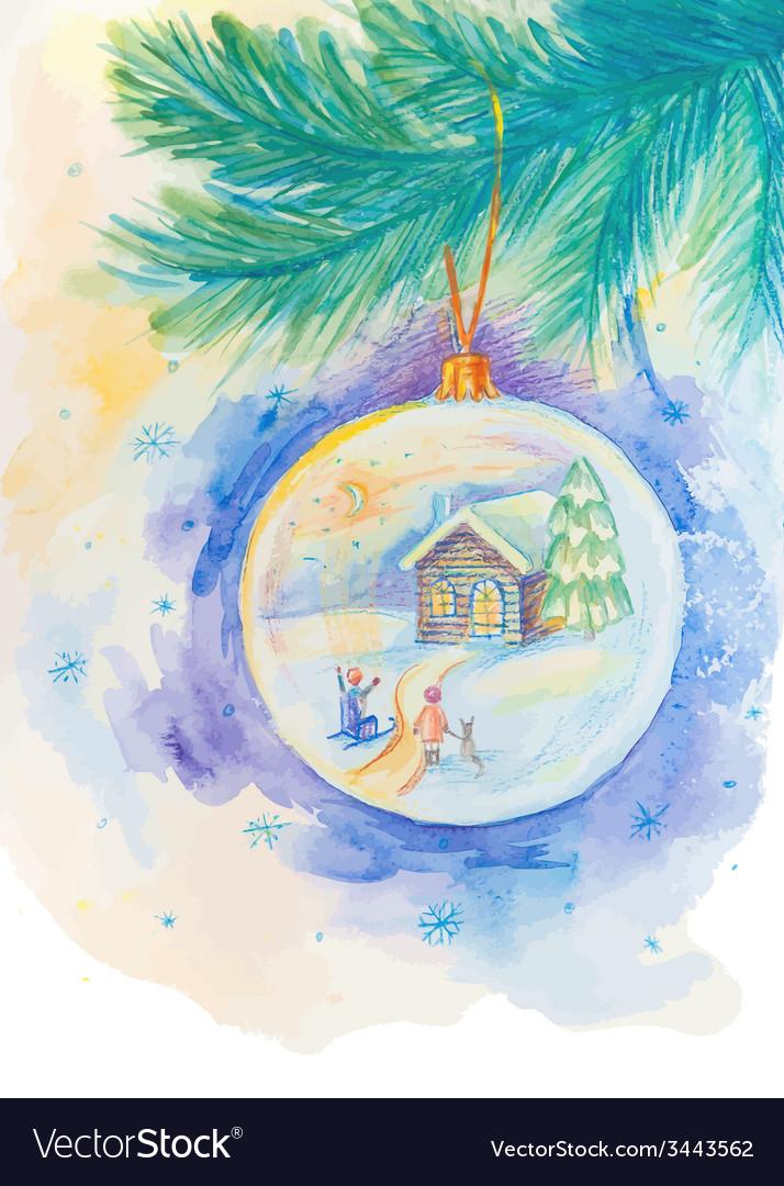 Christmas ball on the fir tree branch vector | Price: 1 Credit (USD $1)