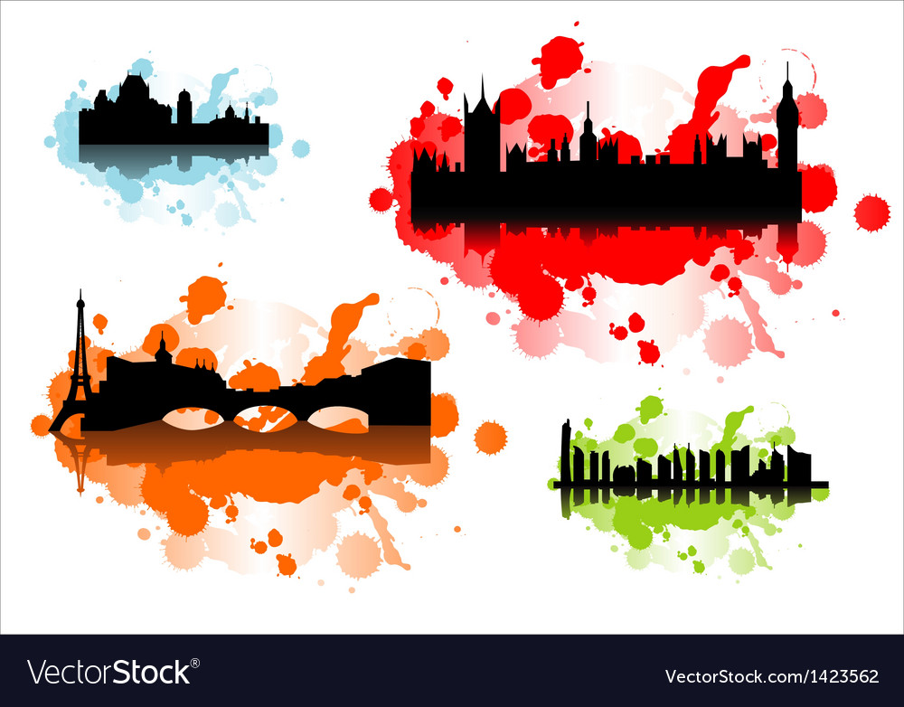 Detailed silhouettes of world cities vector | Price: 1 Credit (USD $1)