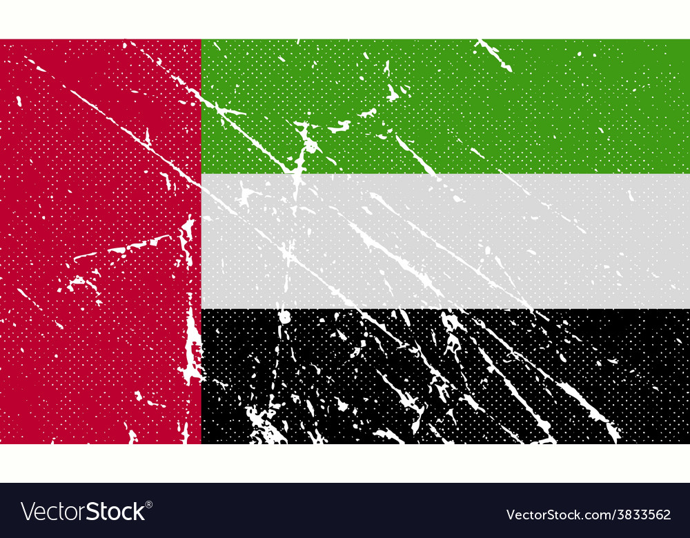 Flag of united arab emirates with old texture vector | Price: 1 Credit (USD $1)