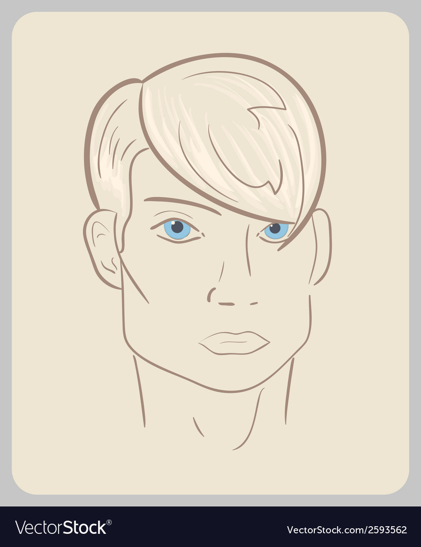 Handdrawn man face with blue eyes and blond hair vector | Price: 1 Credit (USD $1)