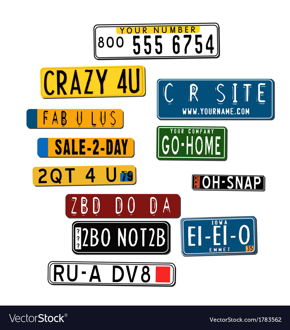 International car license plates vector | Price: 1 Credit (USD $1)