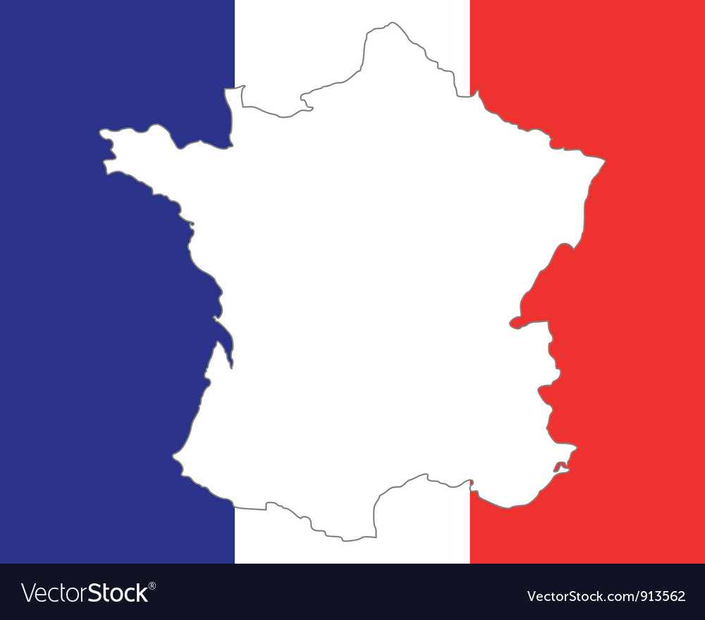 Map and flag of france vector   Price: 1 Credit (USD $1)