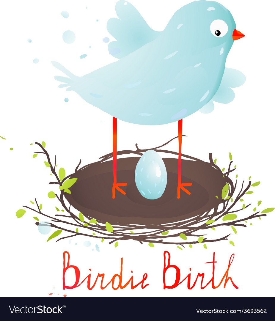Mother bird in nest and egg vector | Price: 1 Credit (USD $1)