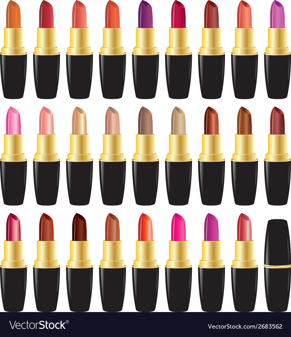 Set lipstick different colors object on white vector | Price: 1 Credit (USD $1)