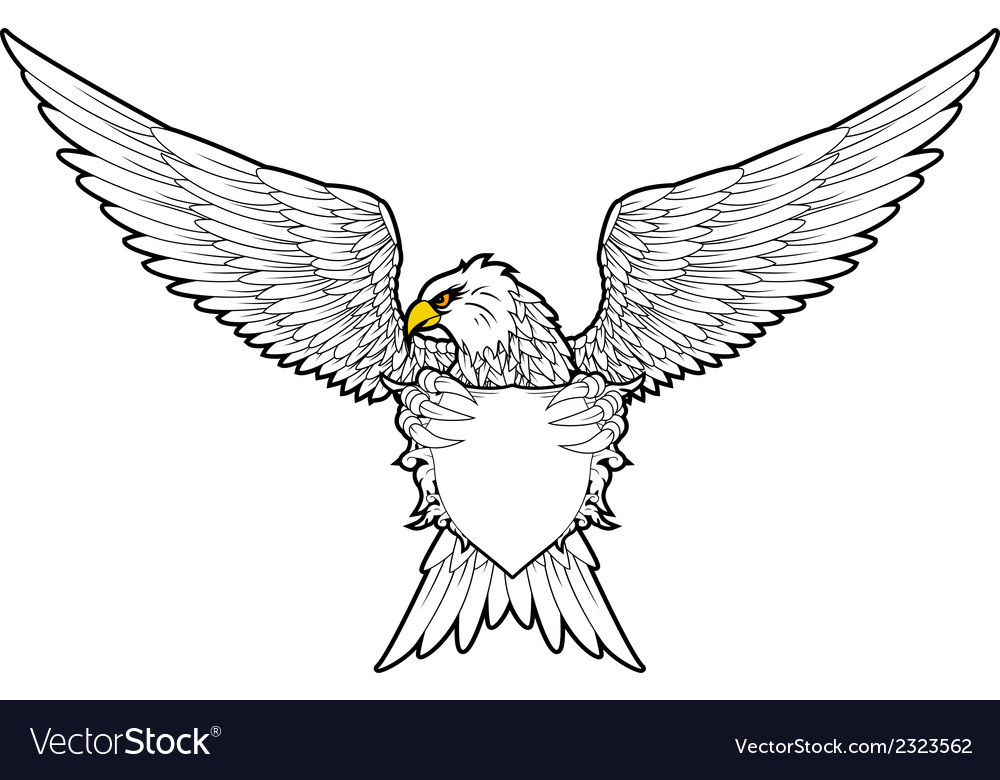 Shield and fury spread winged eagle tattoo vector | Price: 1 Credit (USD $1)