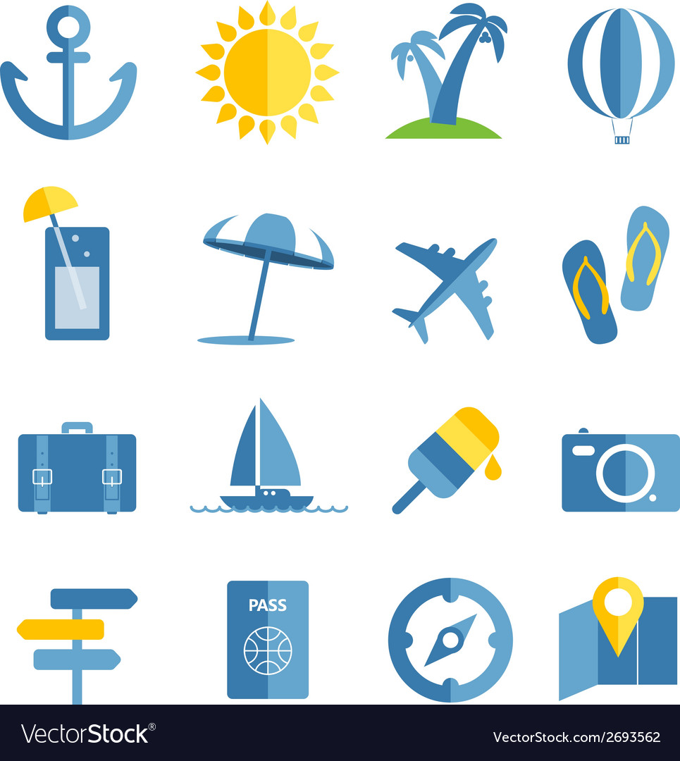 Summer seaside vacation icons vector | Price: 1 Credit (USD $1)