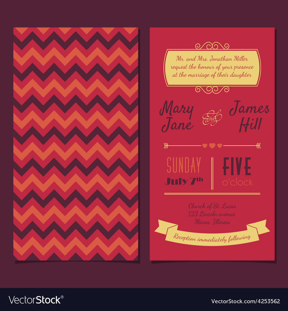 Vintage invitation card with background zigzag vector | Price: 1 Credit (USD $1)
