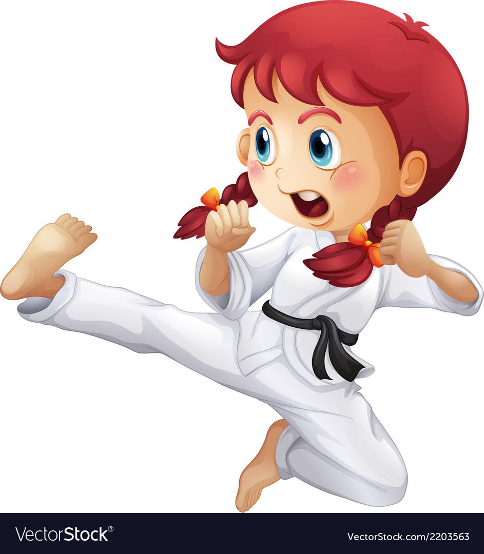 An energetic little girl doing karate vector | Price: 1 Credit (USD $1)