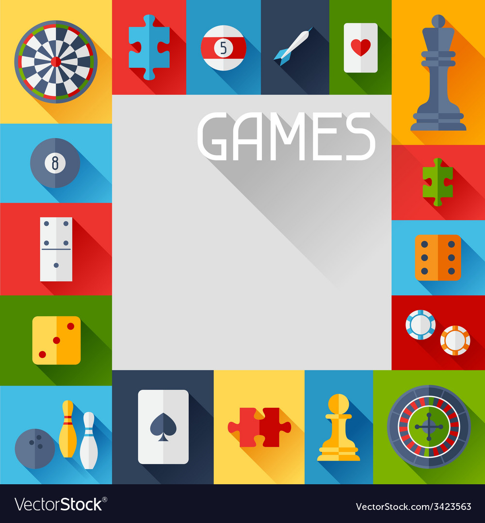 Background with game icons in flat design style vector | Price: 1 Credit (USD $1)