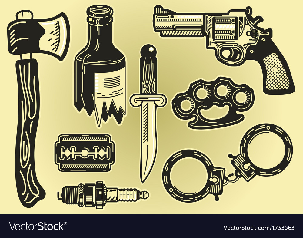 Crime elements vector | Price: 1 Credit (USD $1)