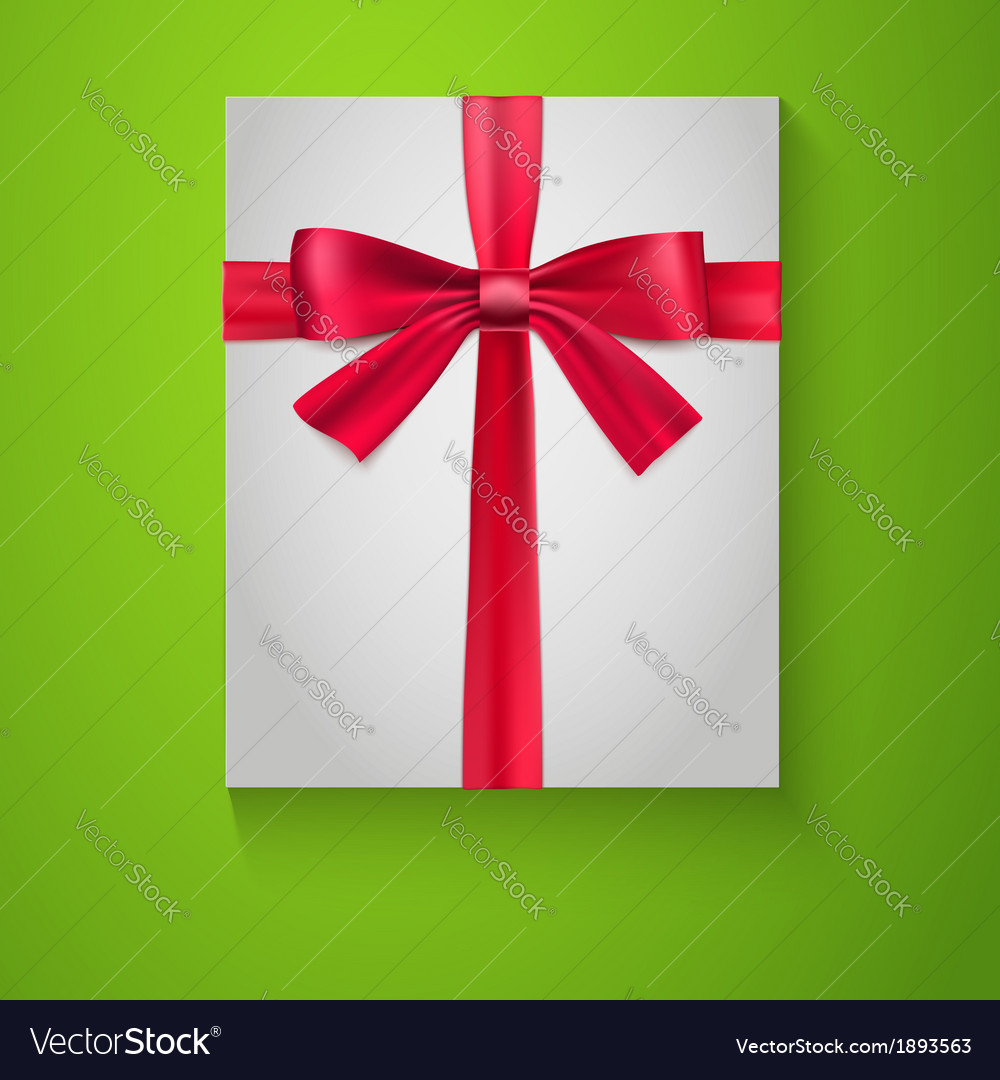 Gift wrapping with red bow and ribbon top view vector | Price: 1 Credit (USD $1)