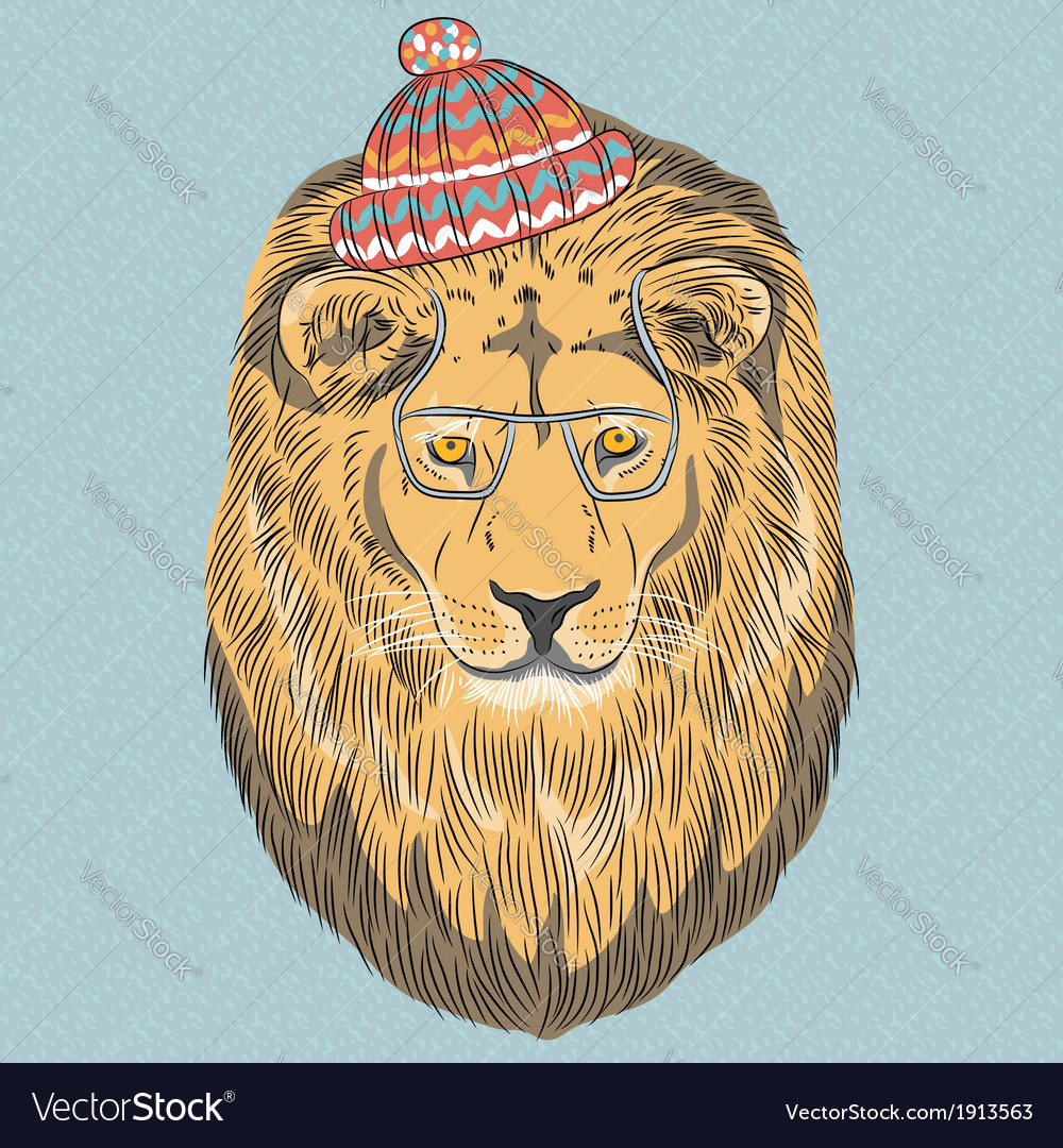 Hipster wild big cat lion vector | Price: 1 Credit (USD $1)