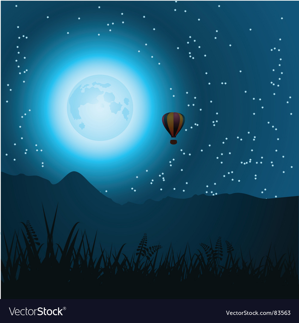 Midnight balloon ride vector | Price: 1 Credit (USD $1)