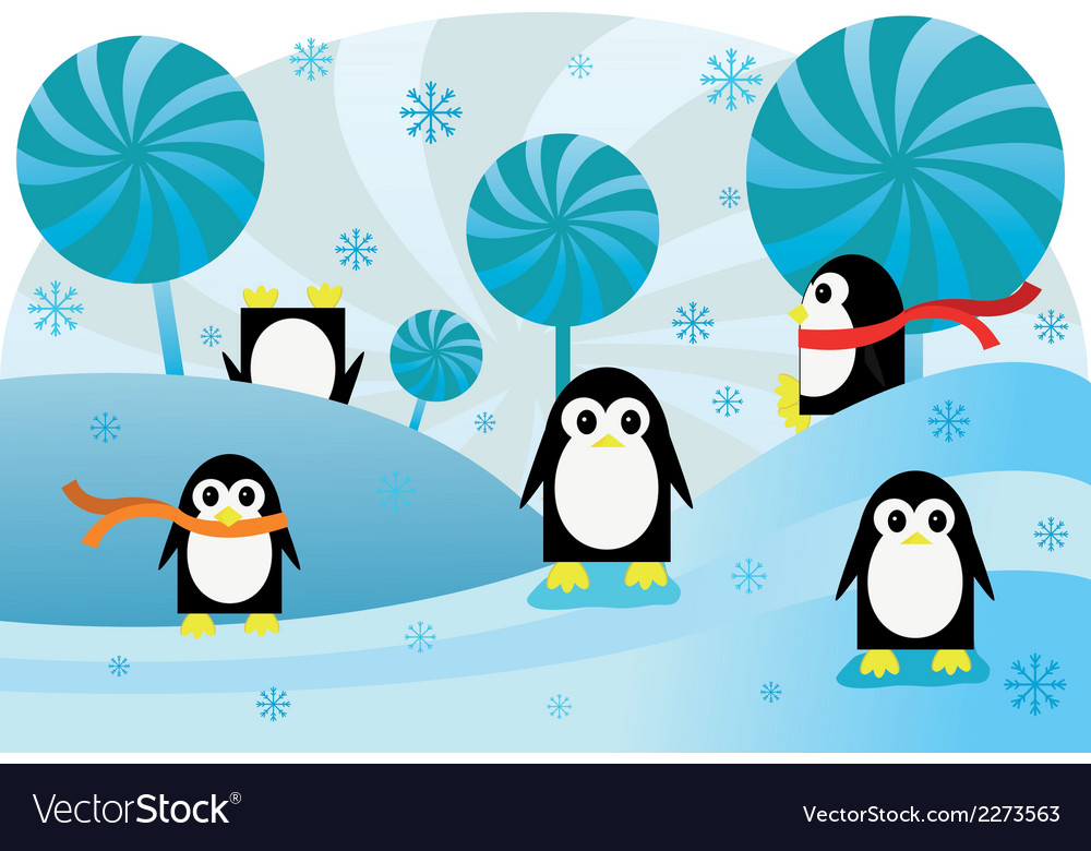 Penguins in snow vector | Price: 1 Credit (USD $1)