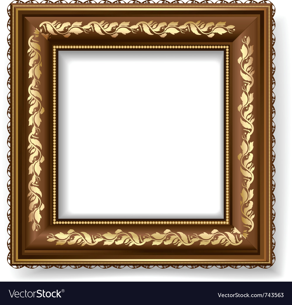 Retro frame with gold leaf vector | Price: 1 Credit (USD $1)