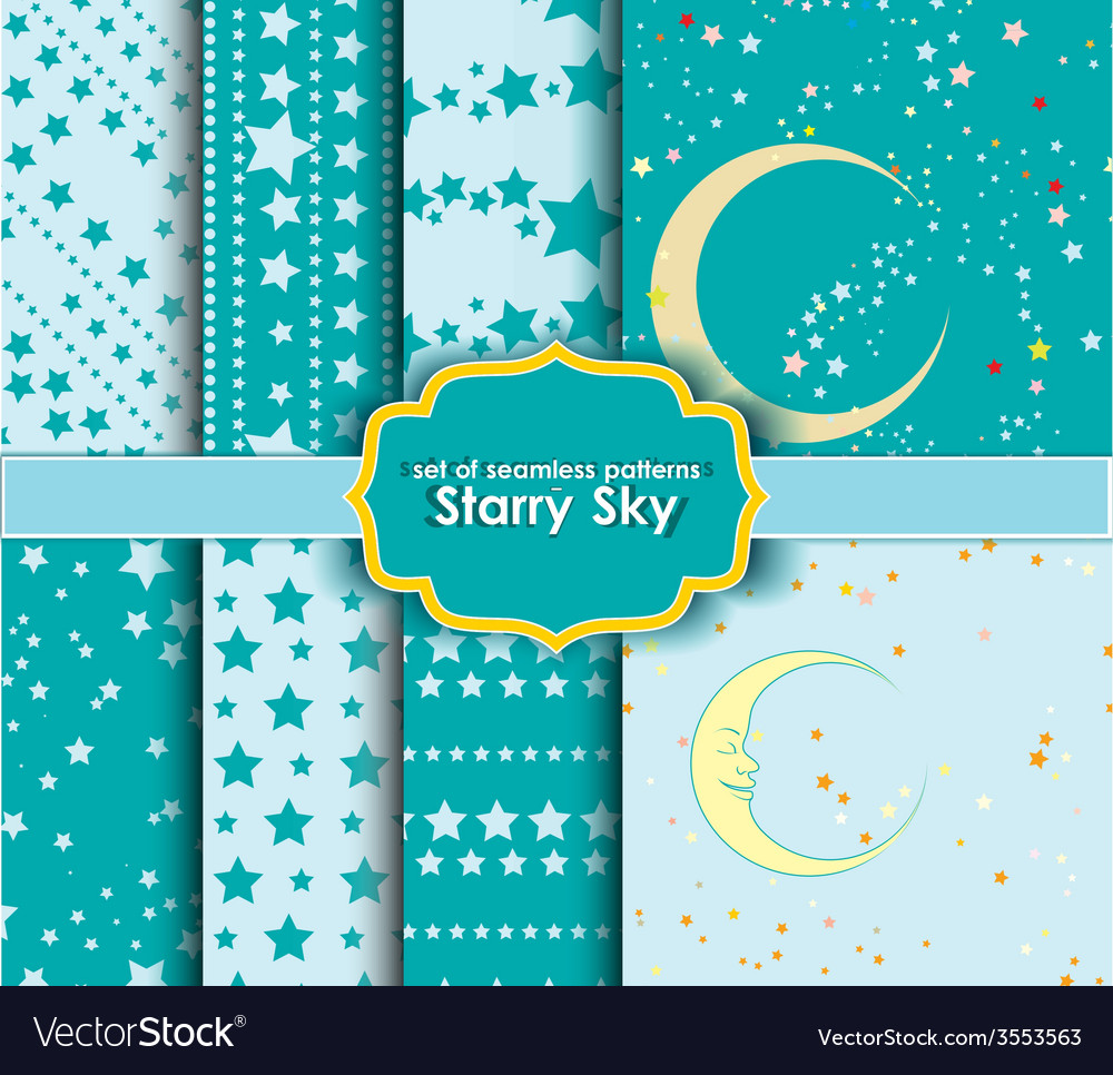 Set of seamless patterns - starry sky vector | Price: 1 Credit (USD $1)