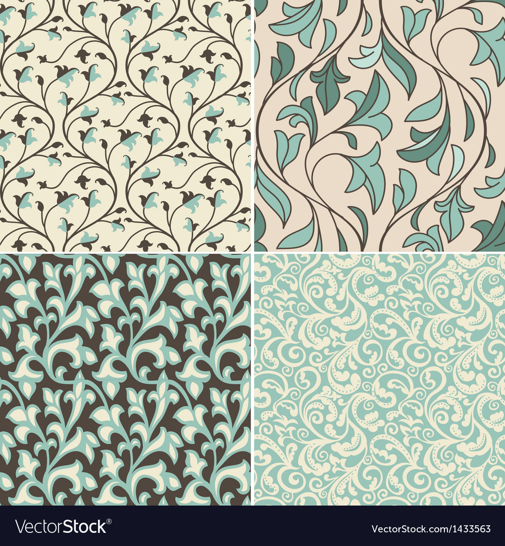 Set with vintage seamless patterns vector | Price: 1 Credit (USD $1)