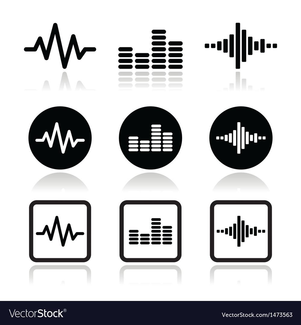 Soundwave music icons set vector | Price: 1 Credit (USD $1)