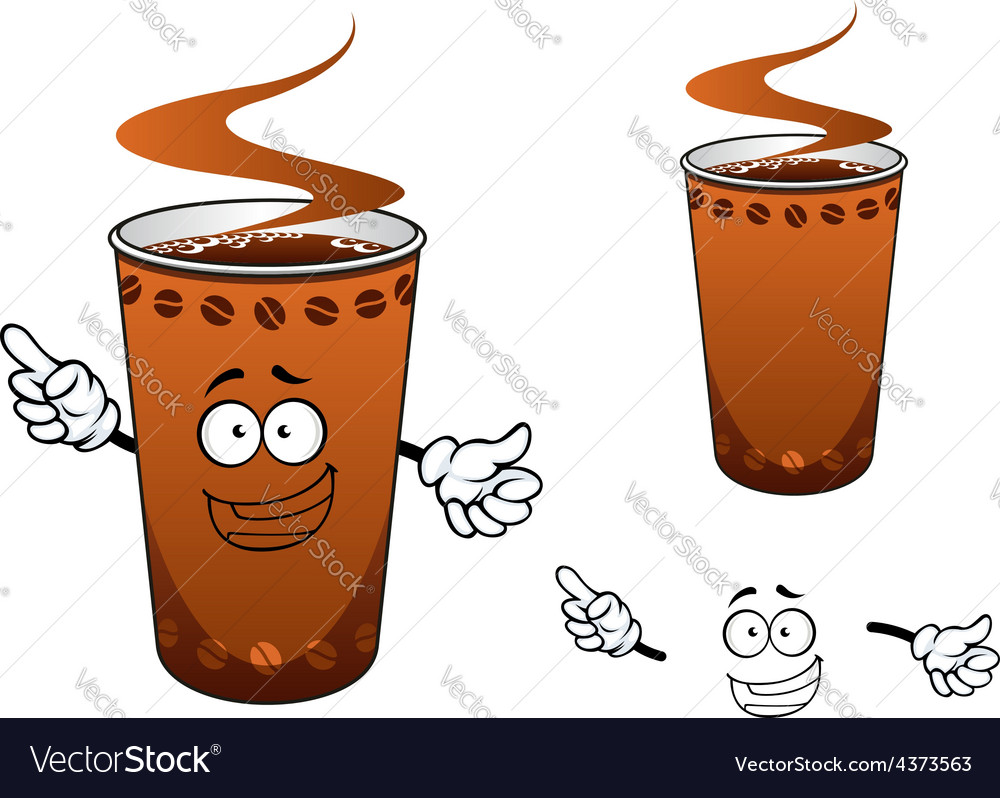 Takeaway cup of coffee cartoon character vector | Price: 1 Credit (USD $1)