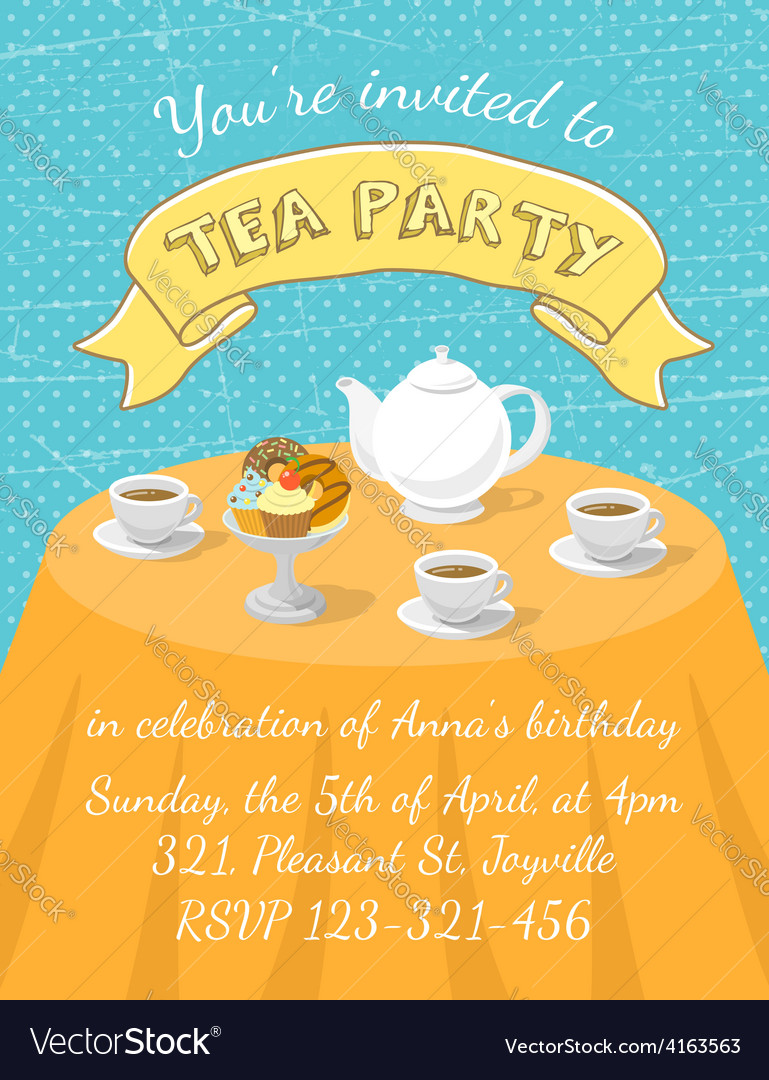 Tea party invitation template vector | Price: 1 Credit (USD $1)