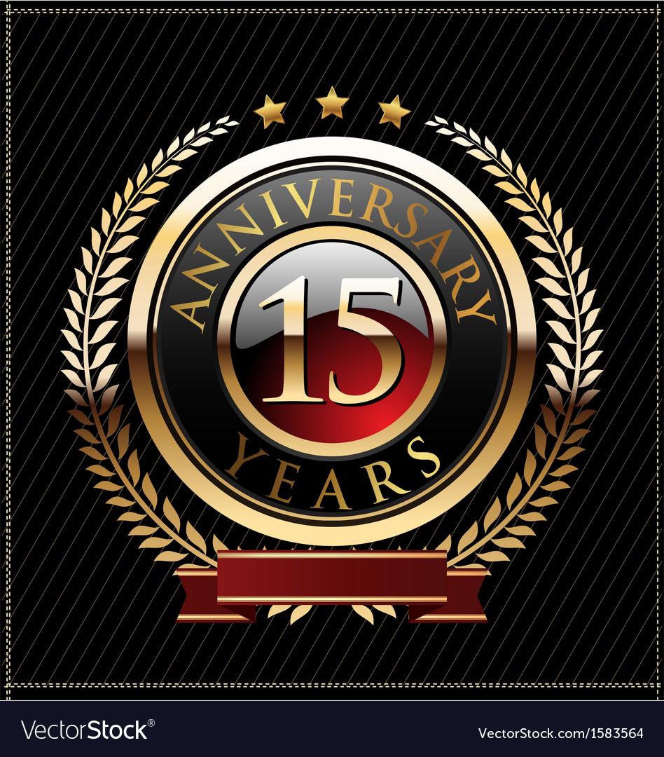 15 years anniversary golden label vector | Price: 1 Credit (USD $1)