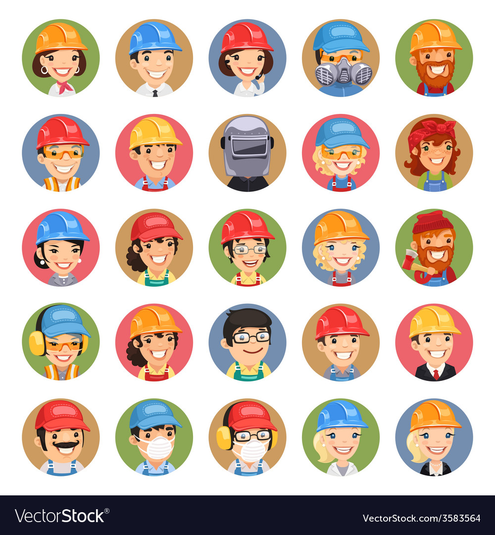 Builders cartoon characters icons set13 vector | Price: 1 Credit (USD $1)