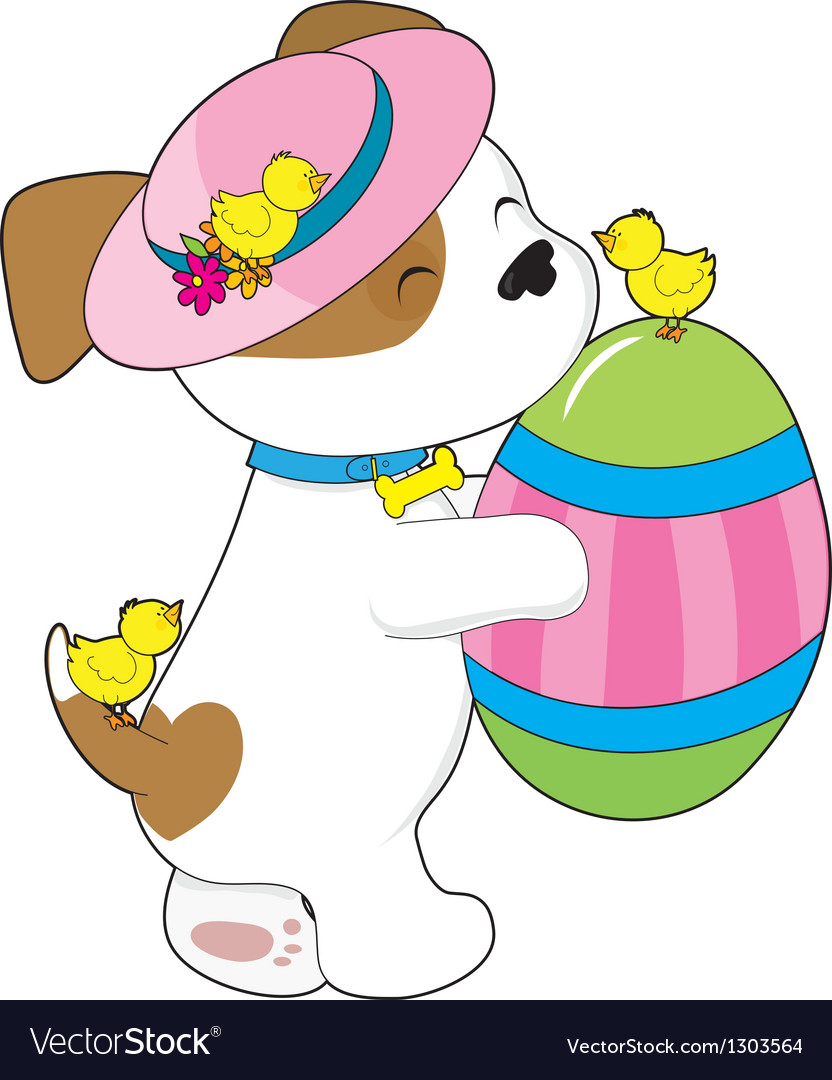 Cute puppy easter egg vector | Price: 3 Credit (USD $3)