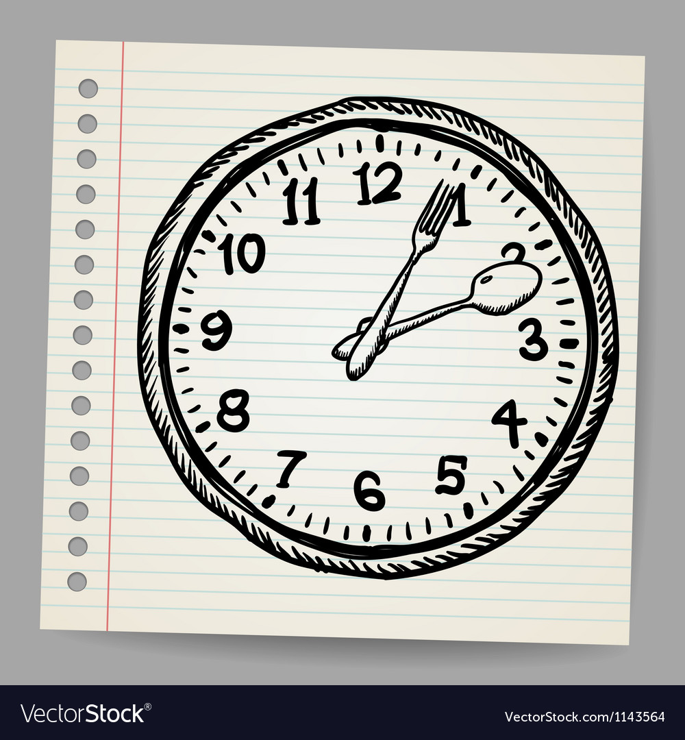Doodle clock made of spoon and fork vector | Price: 1 Credit (USD $1)
