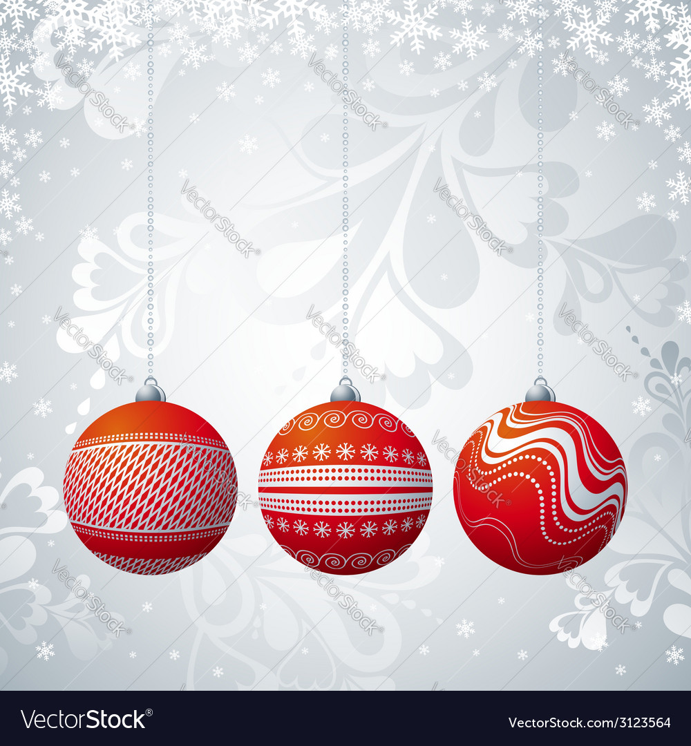 Grey christmas card with three ball vector | Price: 1 Credit (USD $1)