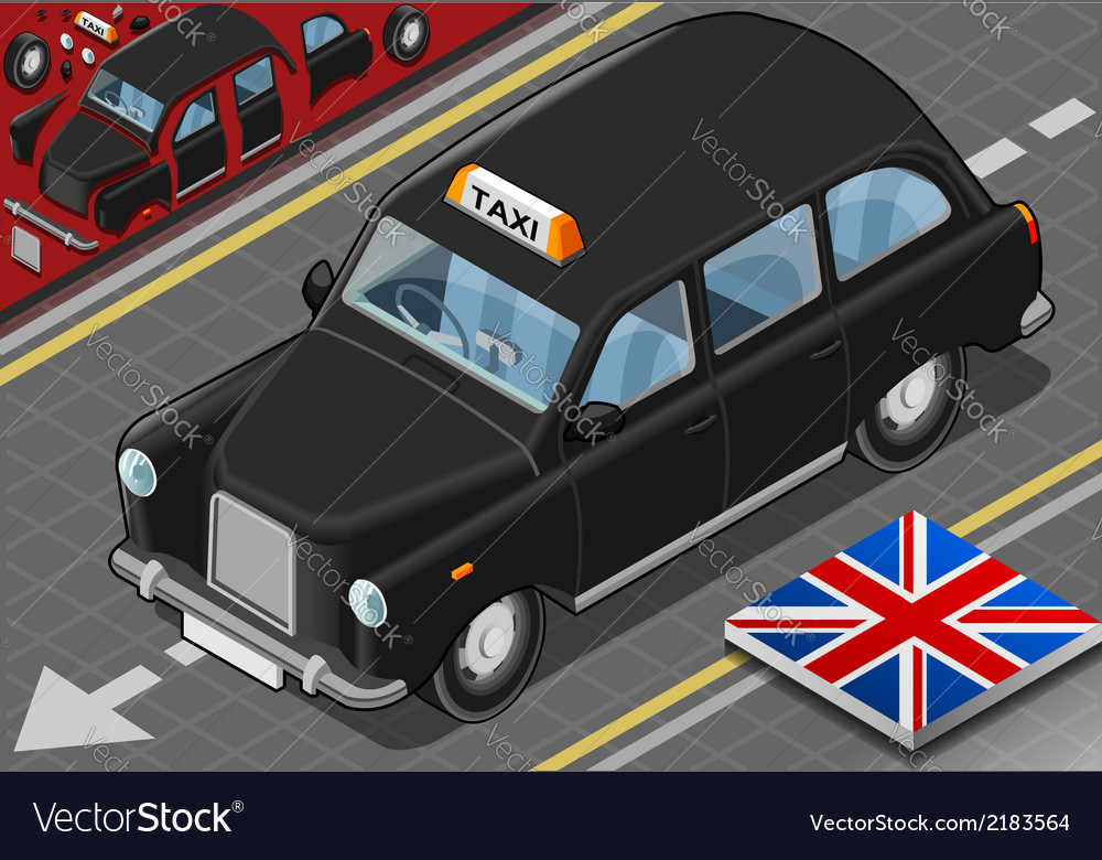 Isometric black london taxi in front view vector | Price: 1 Credit (USD $1)