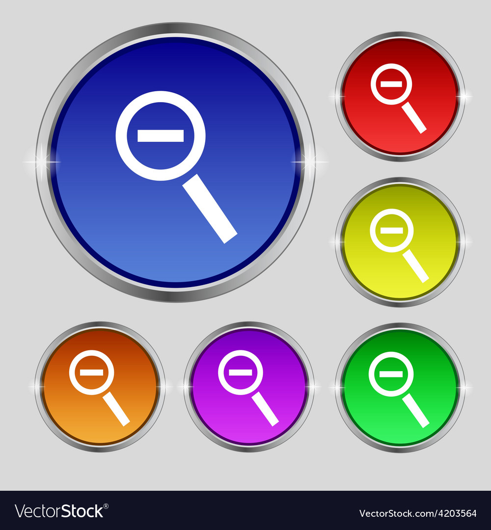 Magnifier glass zoom tool icon sign round symbol vector   Price: 1 Credit (USD $1)