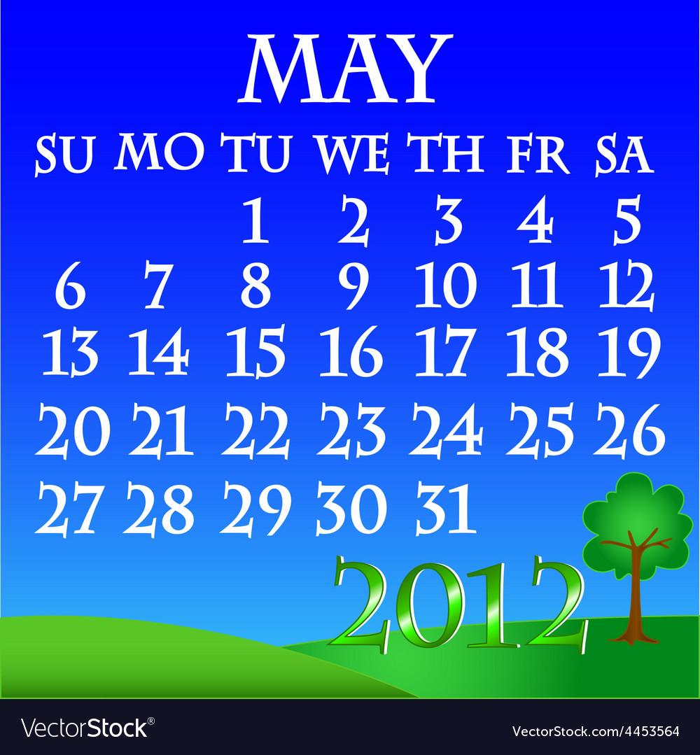 May 2012 landscape calendar vector | Price: 1 Credit (USD $1)