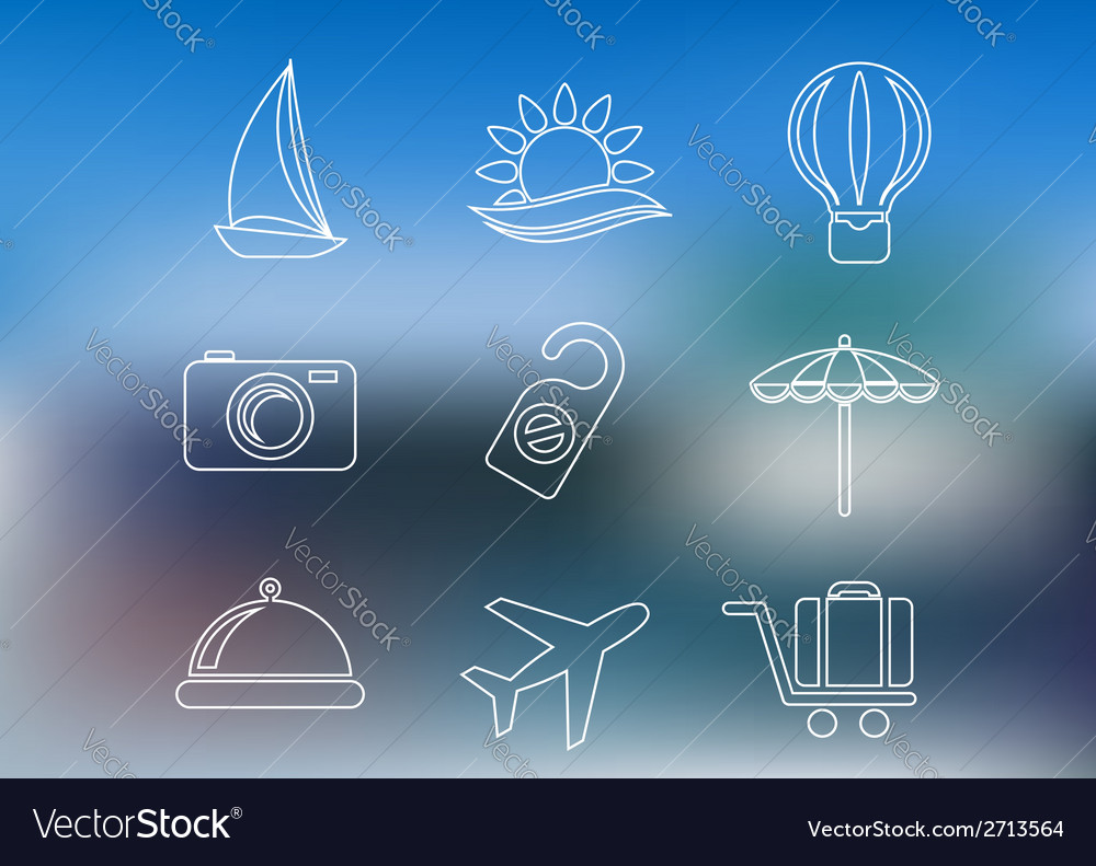 Outline style travel and tourism icons vector | Price: 1 Credit (USD $1)