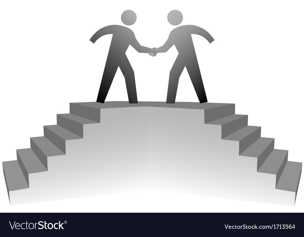 People climb stairs to meeting platform handshake vector | Price: 1 Credit (USD $1)