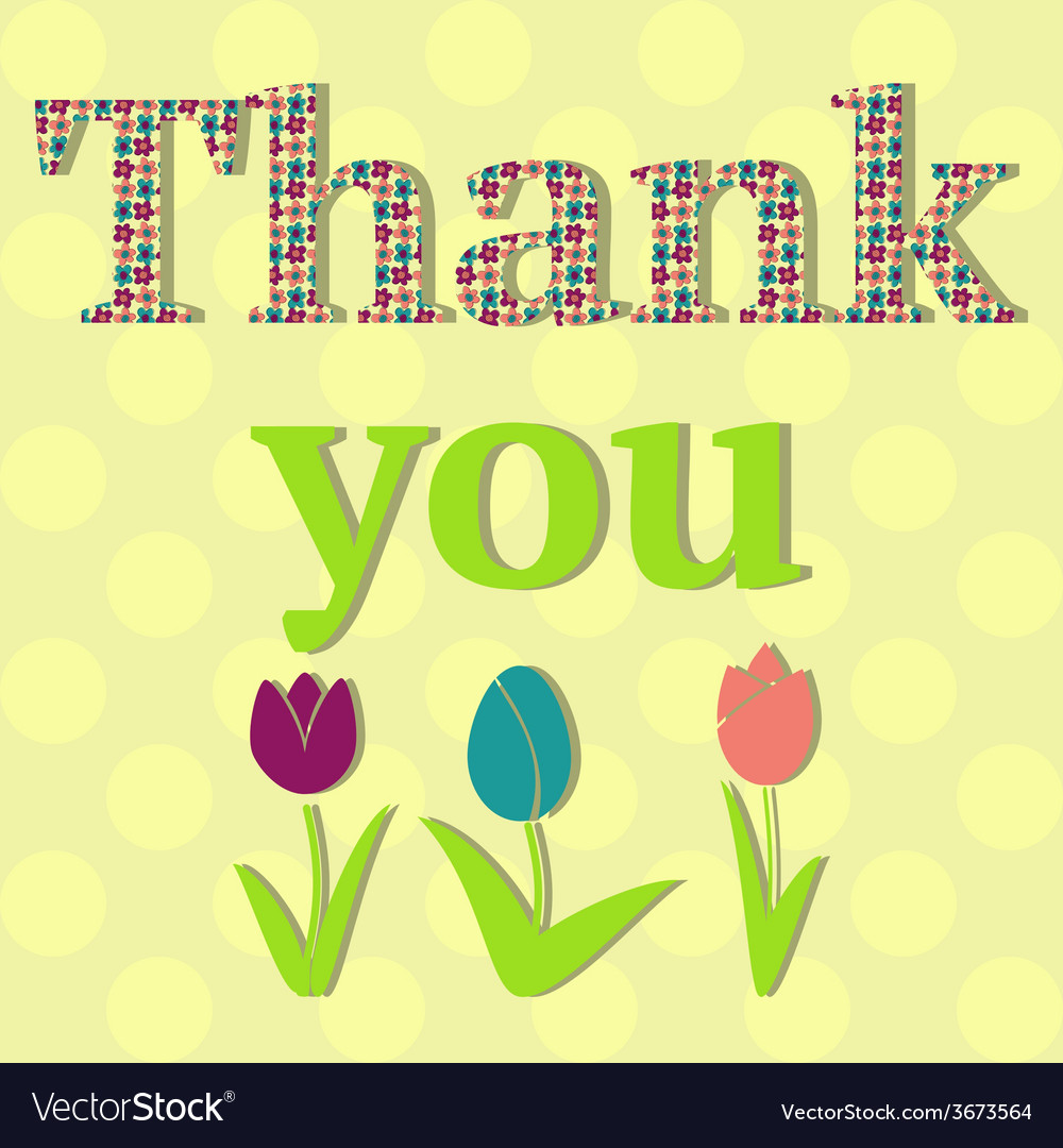 Thank you card with flowers vector | Price: 1 Credit (USD $1)