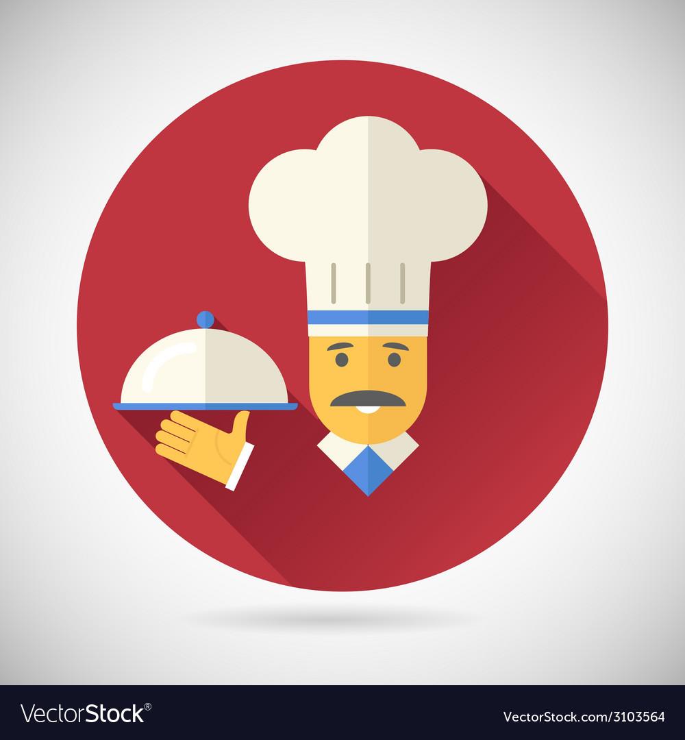 Vintage chief cook serving dish symbol tongue vector | Price: 1 Credit (USD $1)