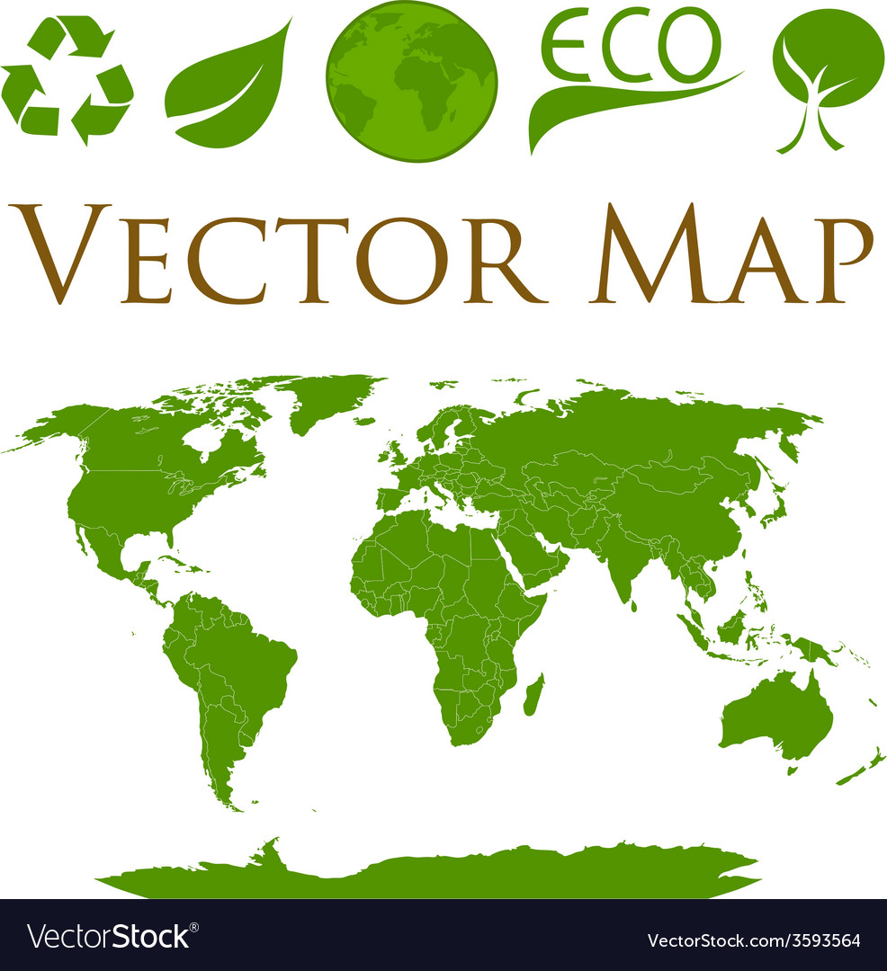 World map with icons of ecology vector | Price: 1 Credit (USD $1)