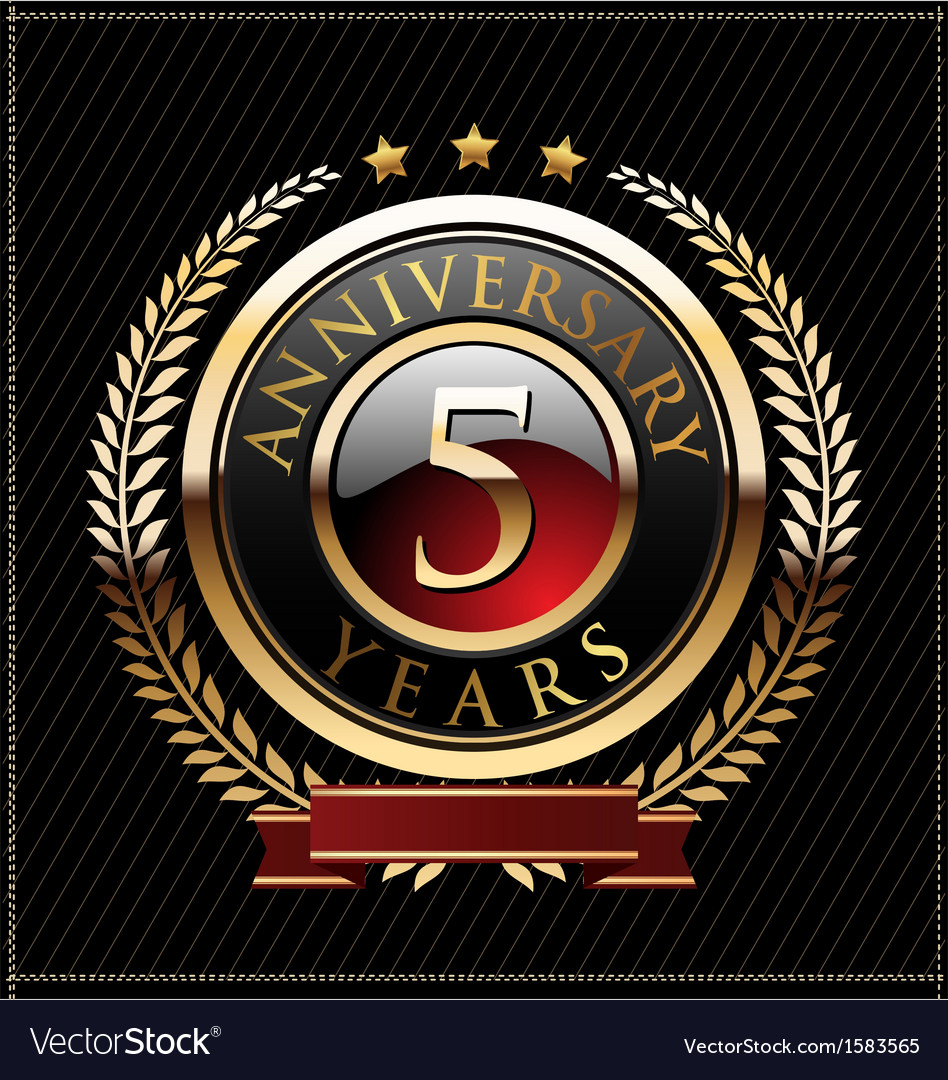 5 years anniversary golden label vector | Price: 1 Credit (USD $1)