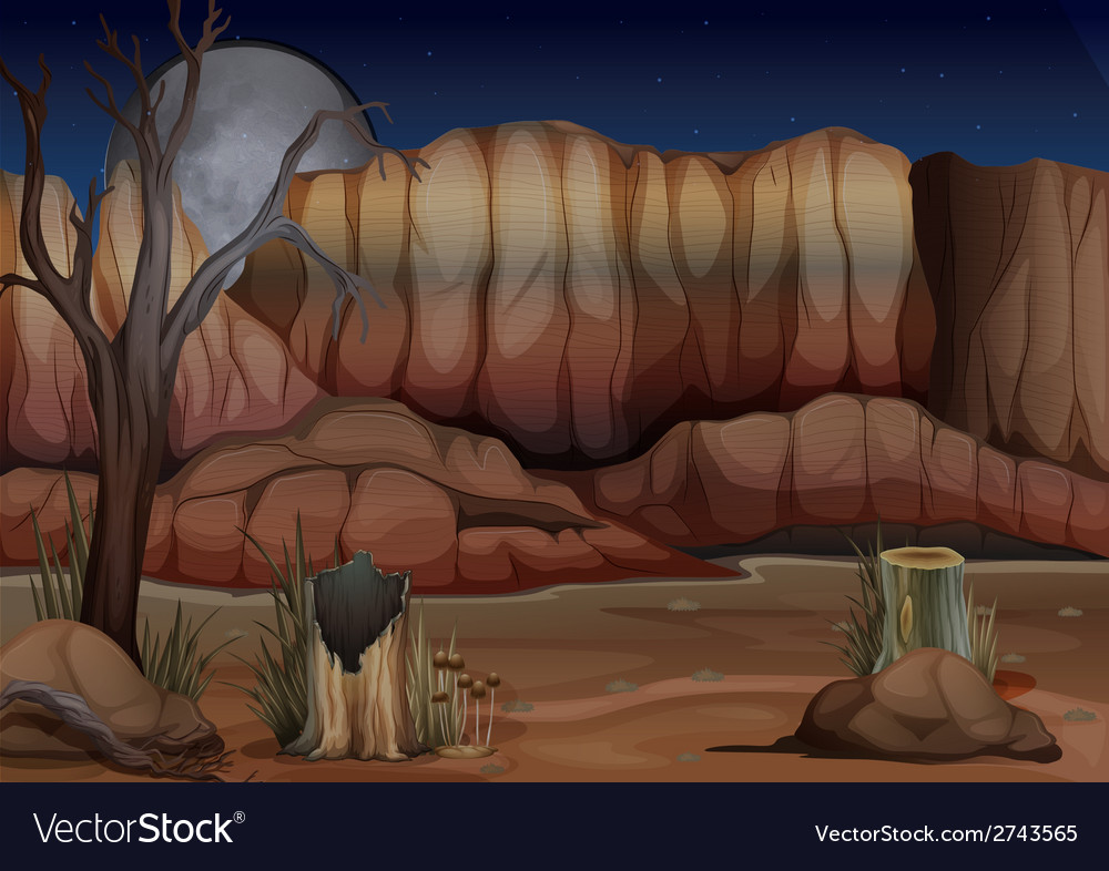 A desert with stumps vector | Price: 3 Credit (USD $3)