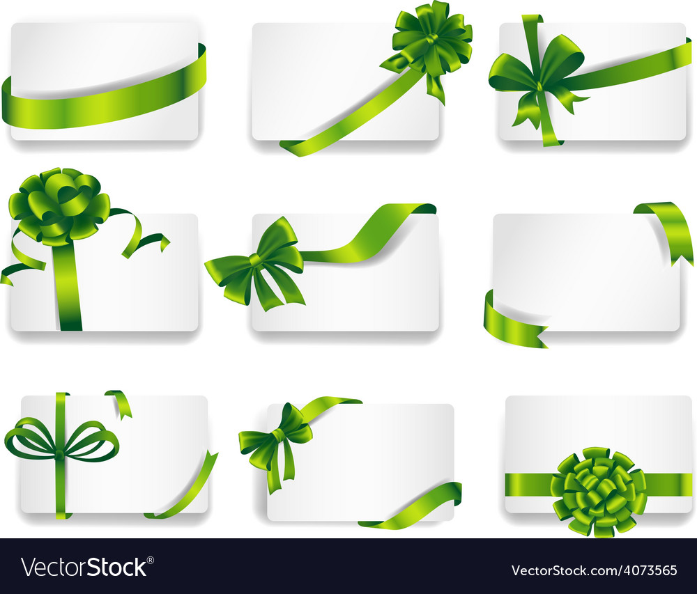 Beautiful cards with green gift bows vector | Price: 3 Credit (USD $3)