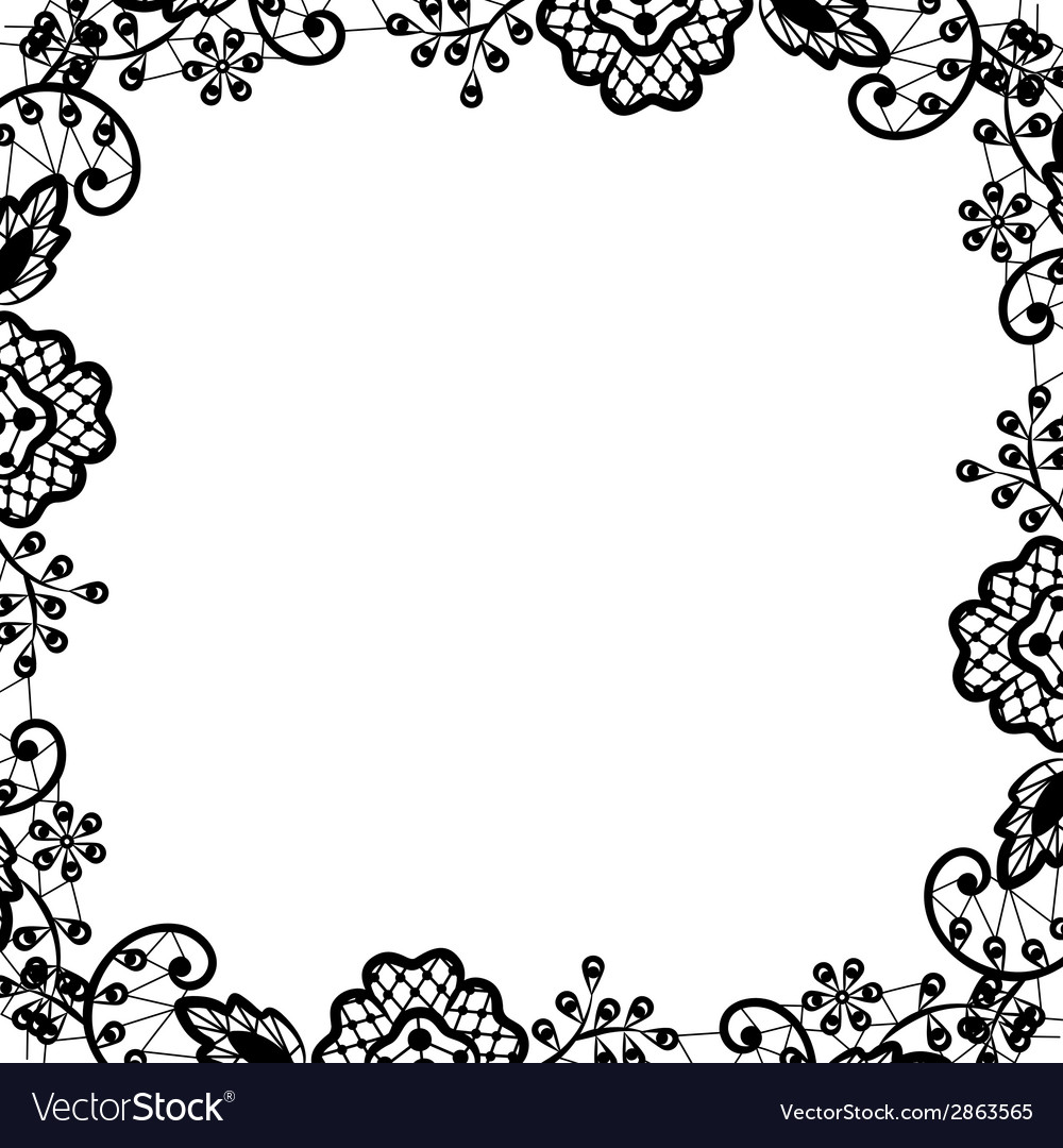 Black lace on white background vector | Price: 1 Credit (USD $1)