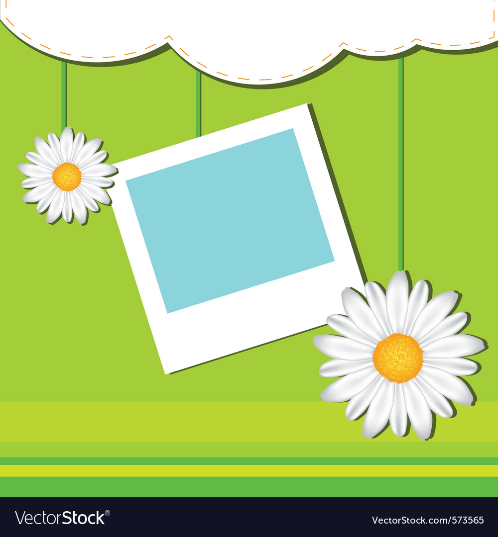 Card with frame and chamomile vector | Price: 1 Credit (USD $1)