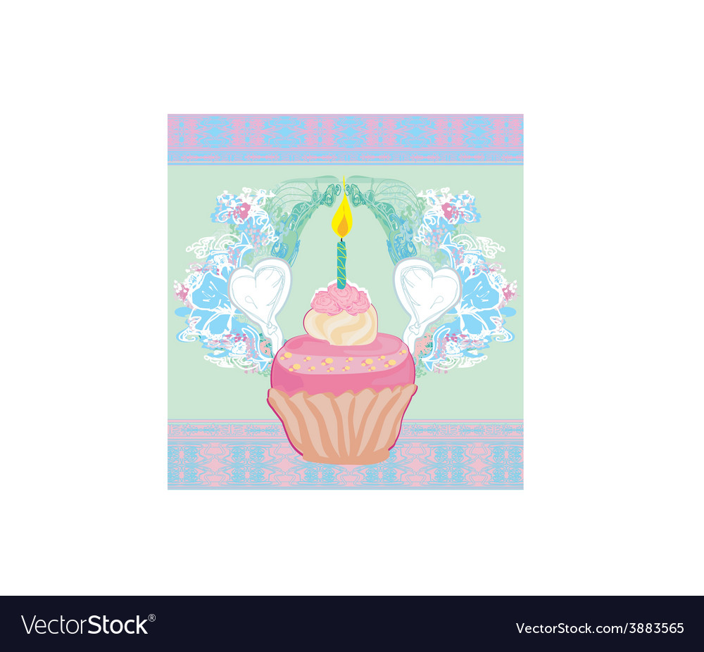 Cute retro cupcakes card - happy birthday card vector | Price: 1 Credit (USD $1)