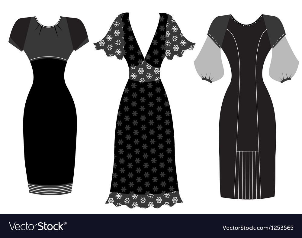 Dresses woman clothes isolated on white vector | Price: 1 Credit (USD $1)