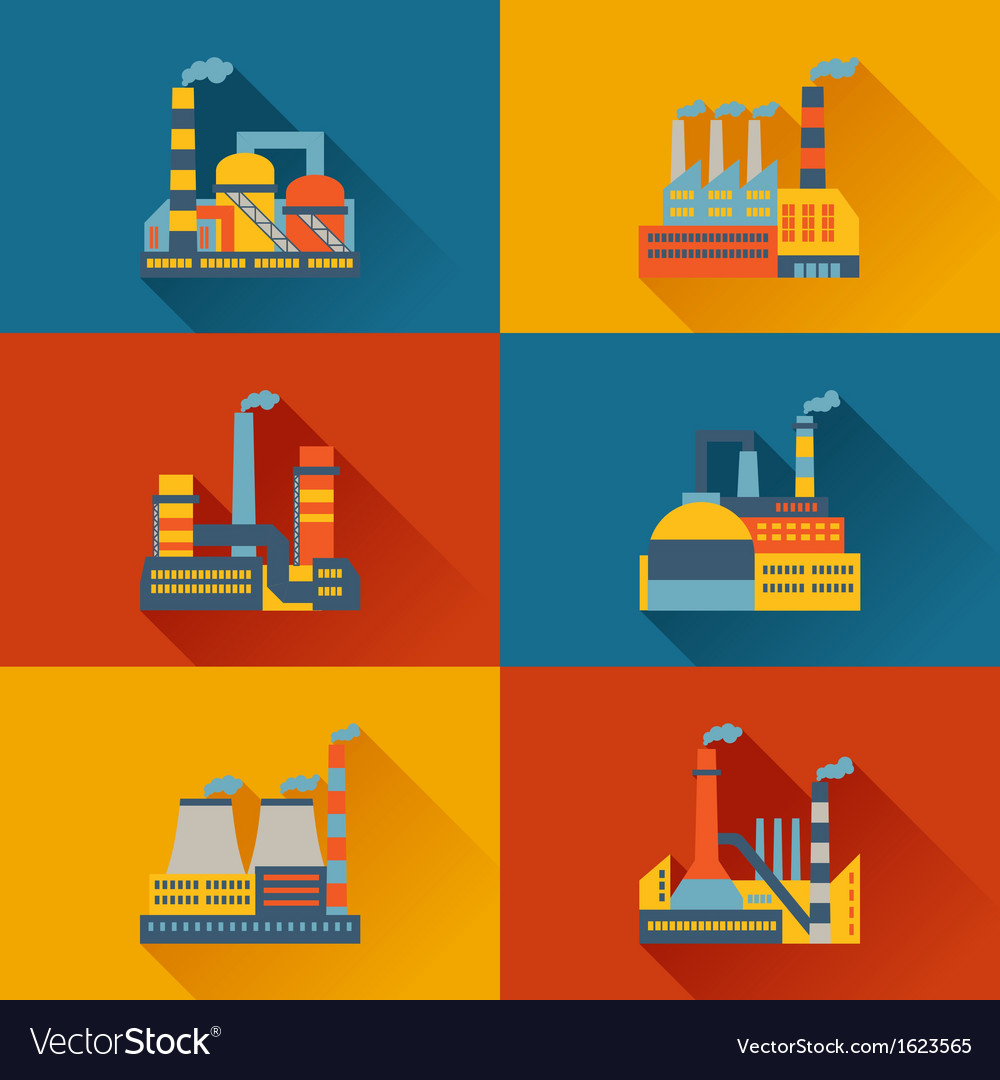 Industrial factory buildings in flat design style vector | Price: 1 Credit (USD $1)