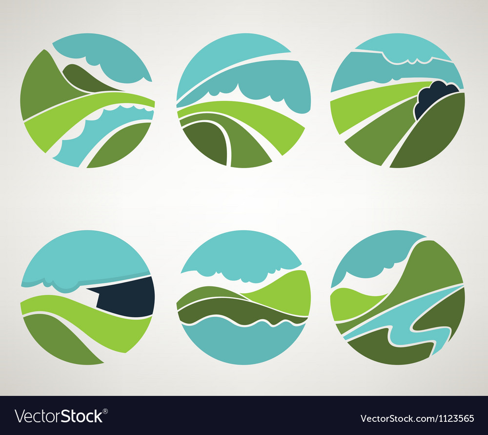 Landscape and nature symbols in old style vector | Price: 1 Credit (USD $1)