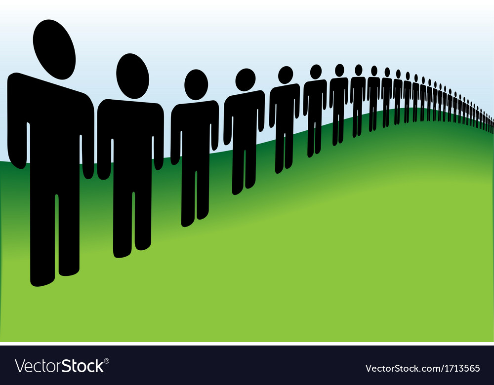 Long line of people lined up on the earth vector